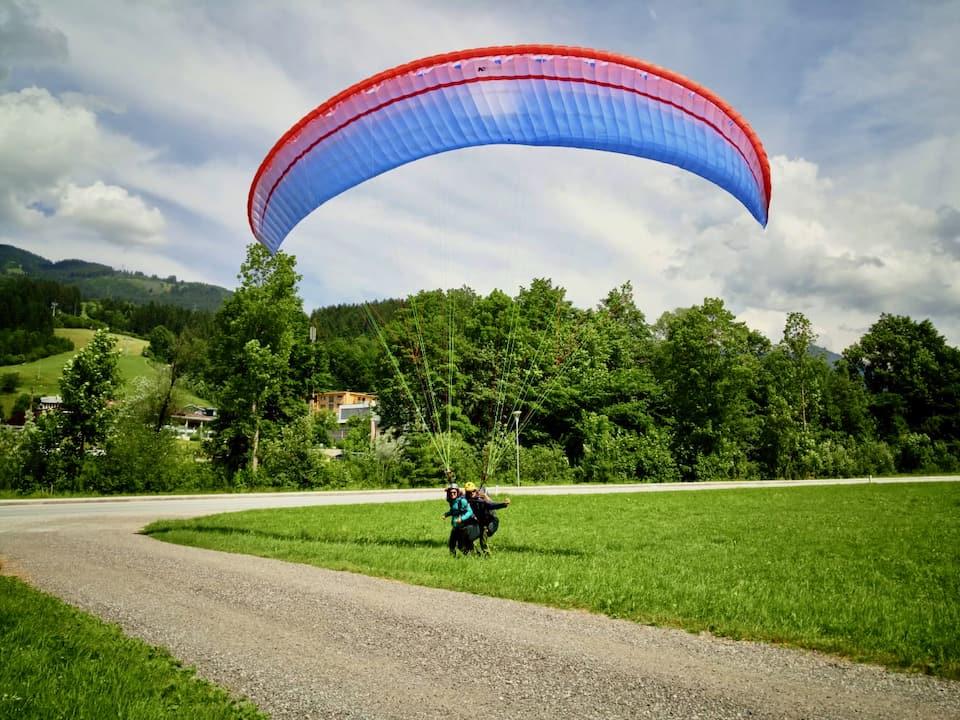 Paragliding Landung