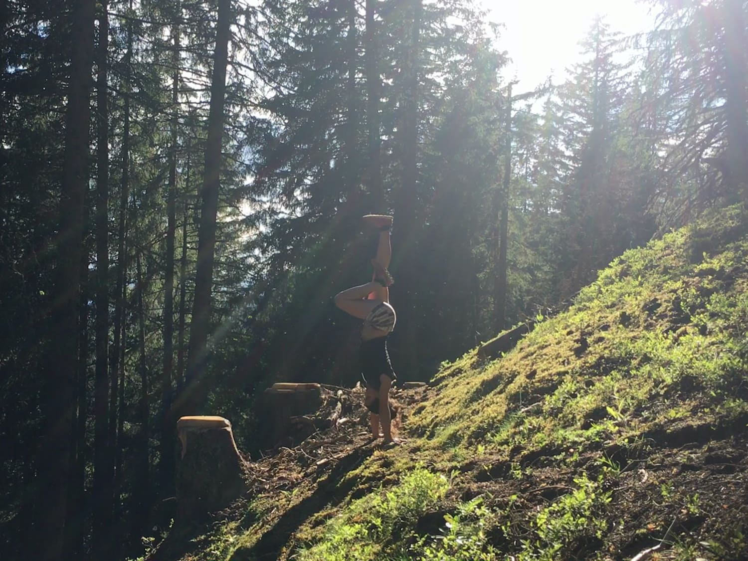 Handstand in the woods